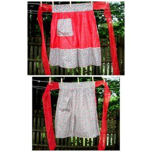 VTG 50's Red Illusion & Floral REVERSIBLE Apron